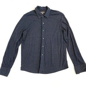 Kenneth Cole Charcoal Gray Jersey Knit Button Down